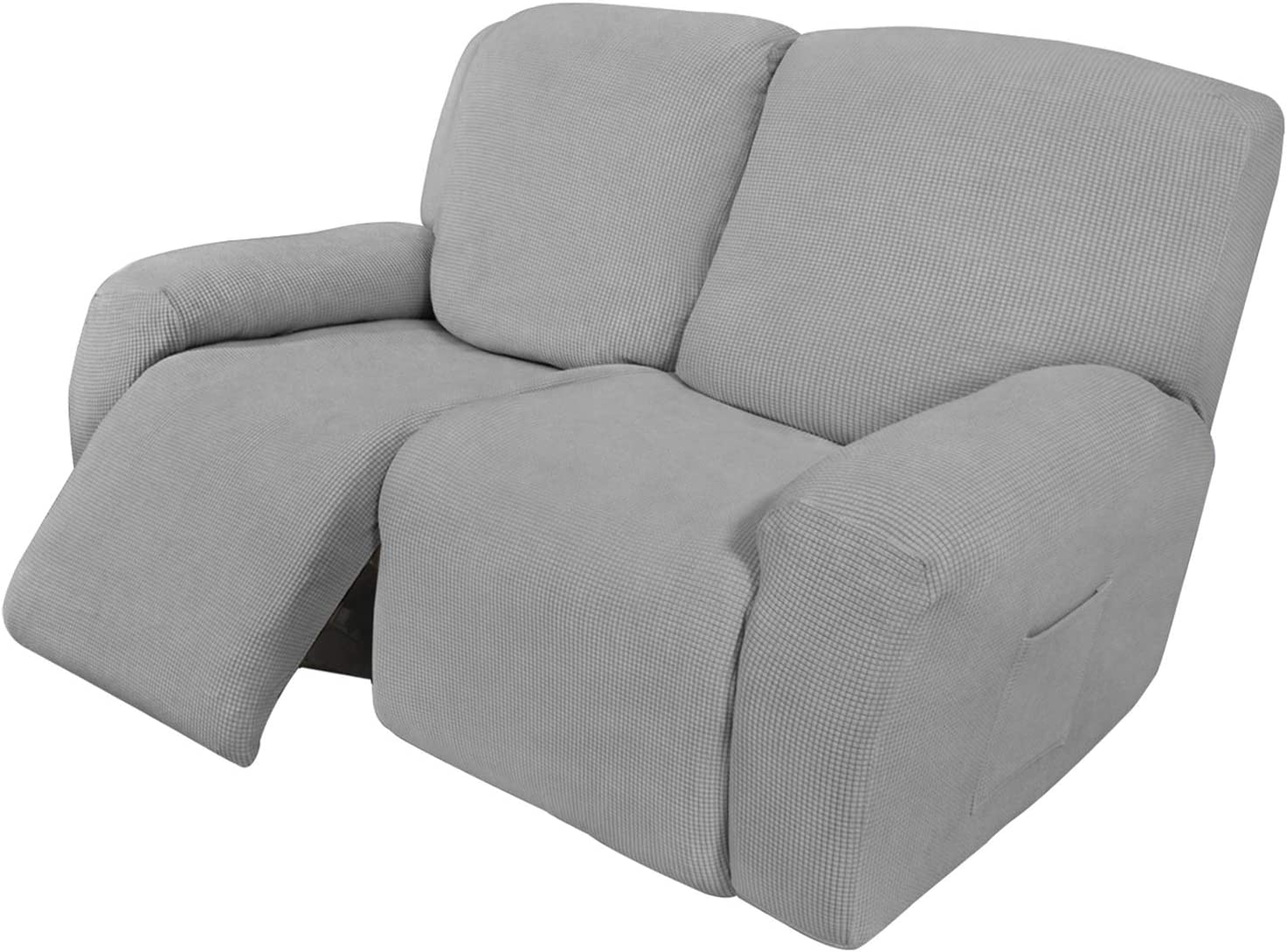 Easy-Going 6 Pieces Recliner Loveseat Stretch Sofa Slipcover Sofa Cover Furniture Protector Couch Soft with Elastic Bottom Kids, Spandex Jacquard Fabric Small Checks Light Gray
