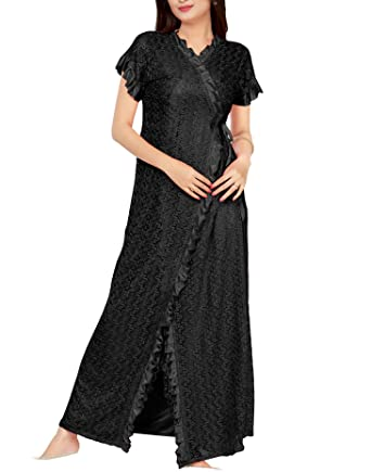 c7ca55a10a BOMBSHELL Women's Satin Nightwear/Night Dress/Nighty Set of 6 Pcs Nighty,  Robe, Top, Capri, Bra and Thong (Pack of 6): Amazon.in: Clothing &  Accessories