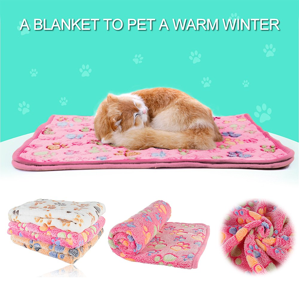 iNNEXT Puppy Blanket for Pet Cushion Small Dog Cat Bed Soft Warm Sleep Mat, Pet Dog Cat Puppy Kitten Soft Blanket Doggy Warm Bed Mat Paw Print
