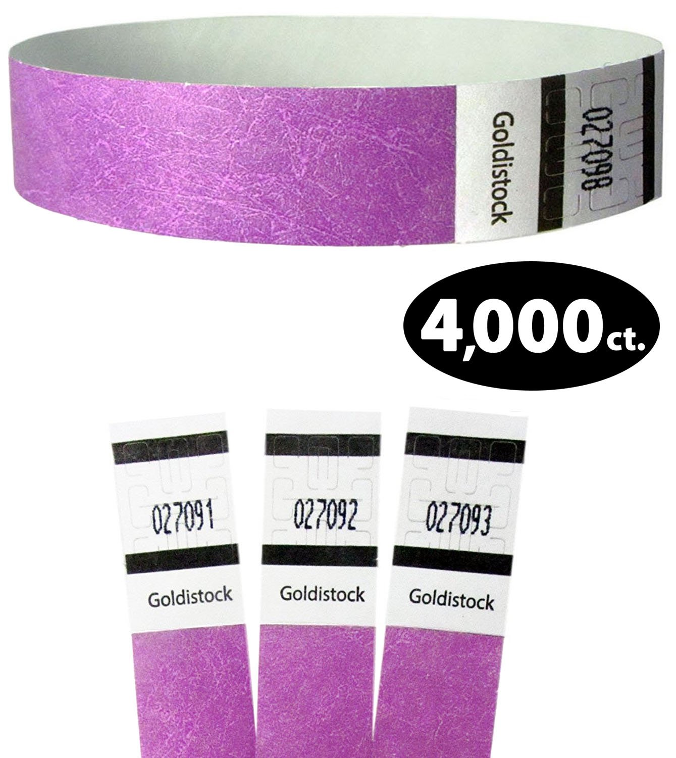 Goldistock Original Series - 3/4'' Tyvek Wristbands Royal Neon Purple 4,000 Count Value Pack - Event Identification Bands (Paper - Like Texture)