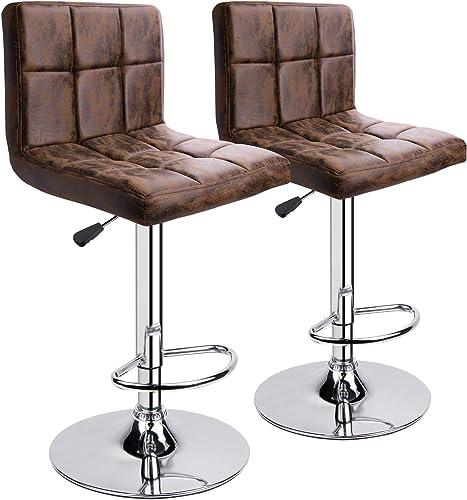 Leopard Modern Adjustable Swivel Bar stools, Bar Stools Set of 2 Brown Hot-Stamping Cloth