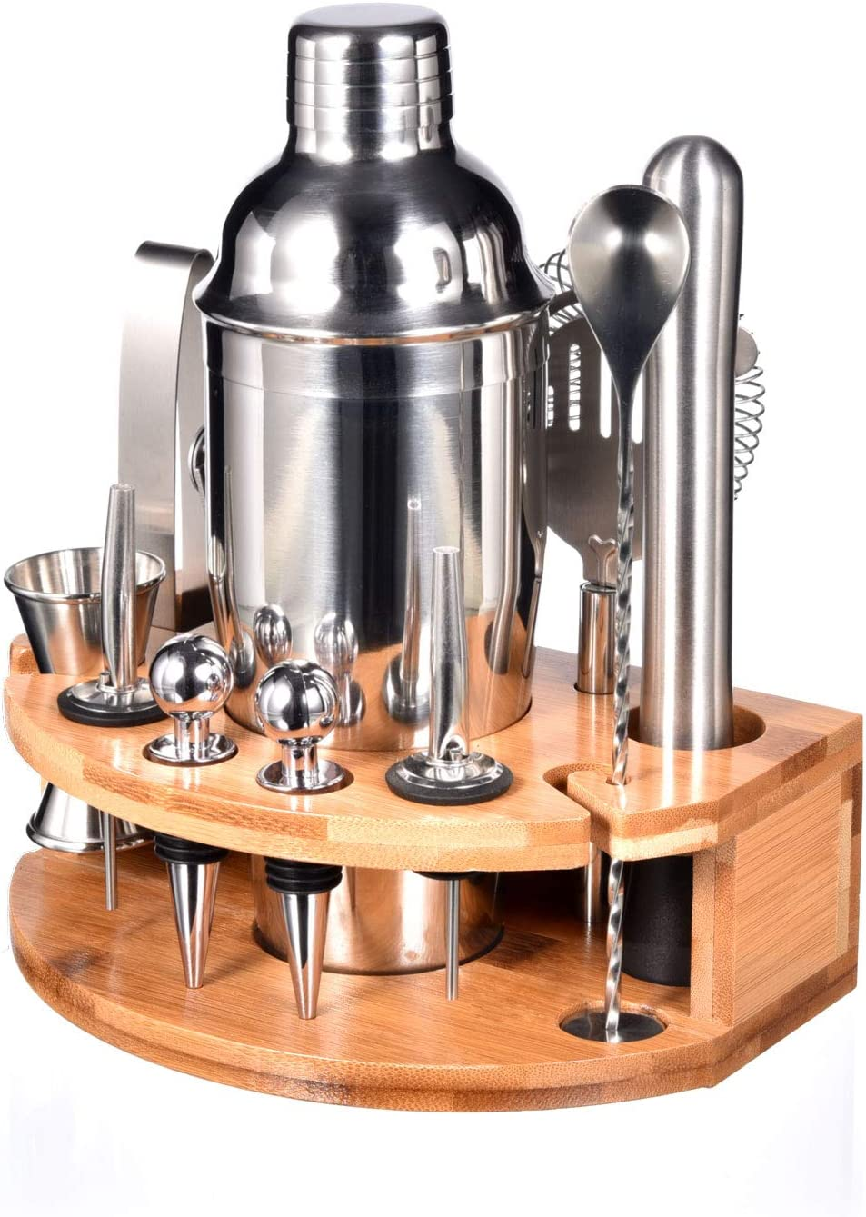 Bartender Kit with Stylish Bamboo Stand, 12 Piece Cocktail Shaker Set for Mixed Drink, Professional Stainless Steel Bar Tool Set - Cocktail Recipes Booklet(25 oz)