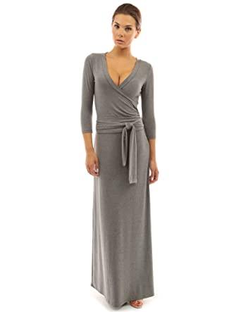 7132ae0a0e6 PattyBoutik Women s 3 4 Sleeve Faux Wrap Maxi Dress at Amazon Women s  Clothing store