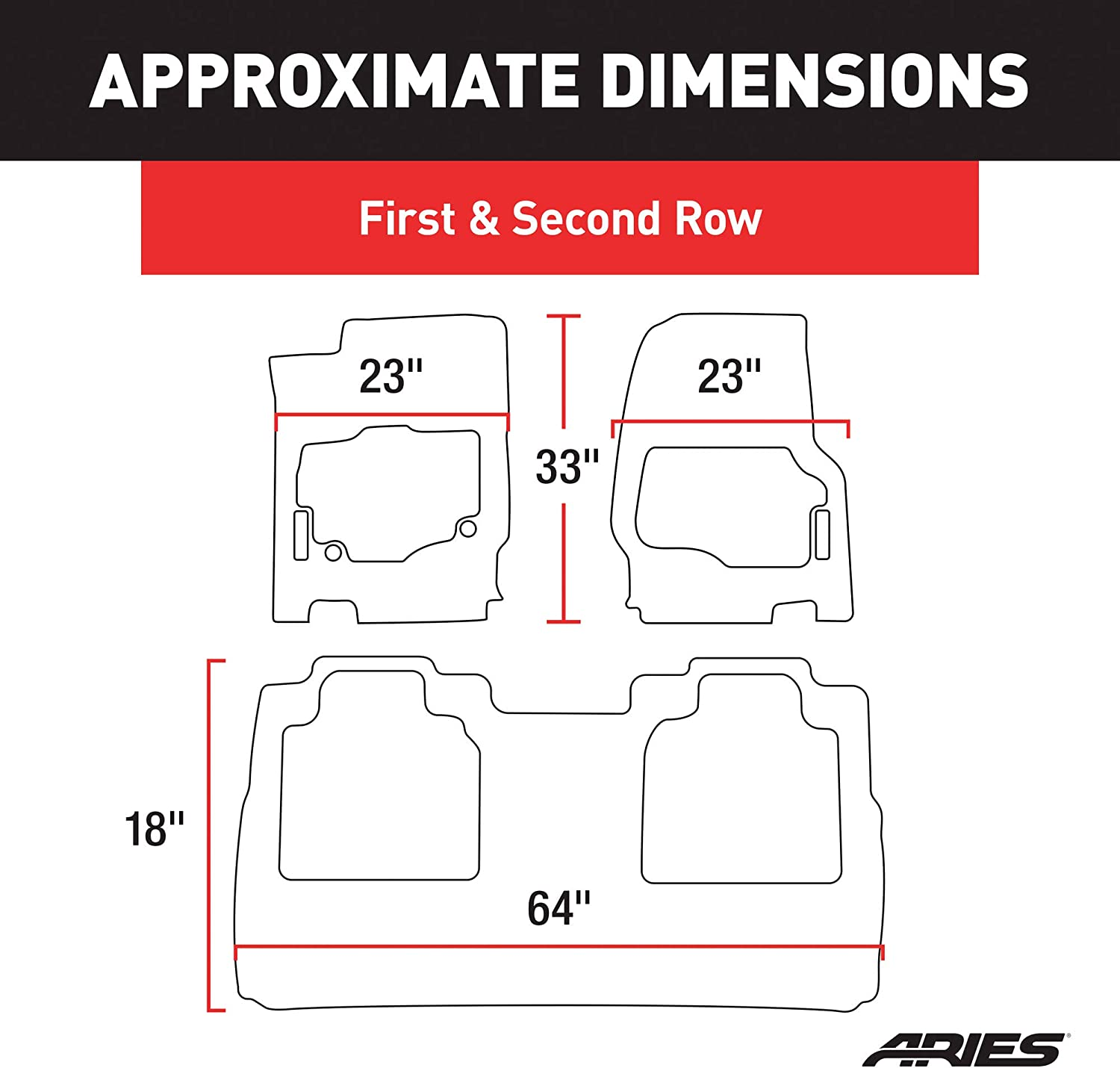 Select Ford F-250 Super Duty Crew Cab 1st and 2nd Row ARIES 2803209 StyleGuard XD Black Custom Floor Liners