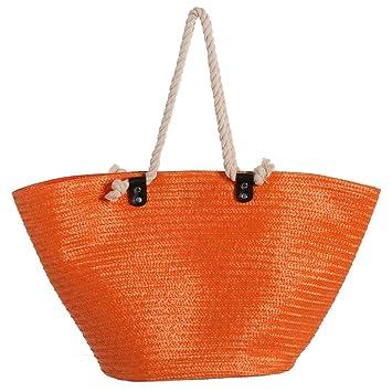 Bolsa de Playa de Rafia plástica Impermeable Naranja Moderna Iris - LOLAhome