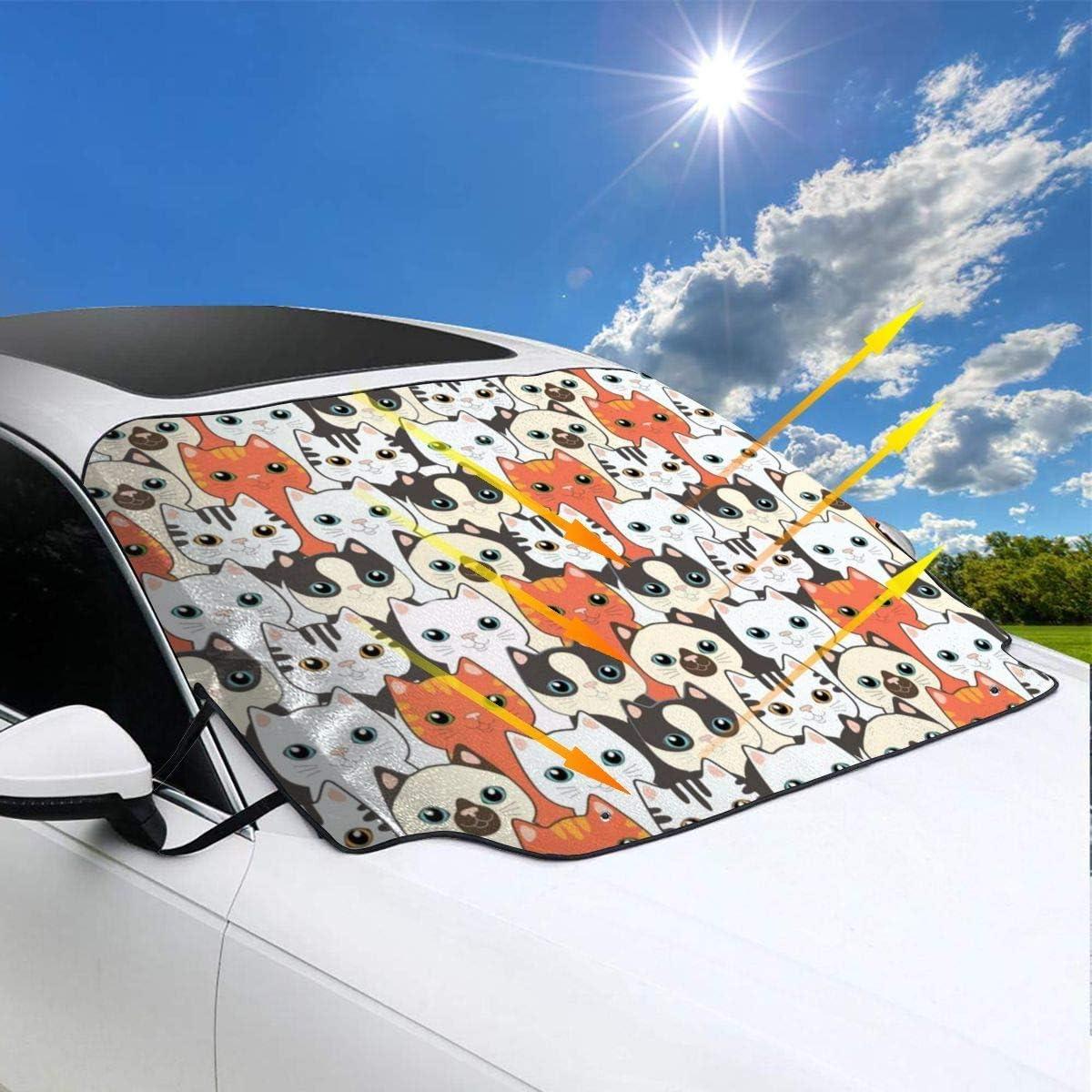 MOLLUDY Frontscheibenabdeckung Windschutzscheibe Auto Frontscheibe Abdeckung Farbige Blume Winter Magnetisch Frostabdeckung Sonnenschutz Schneeschutz