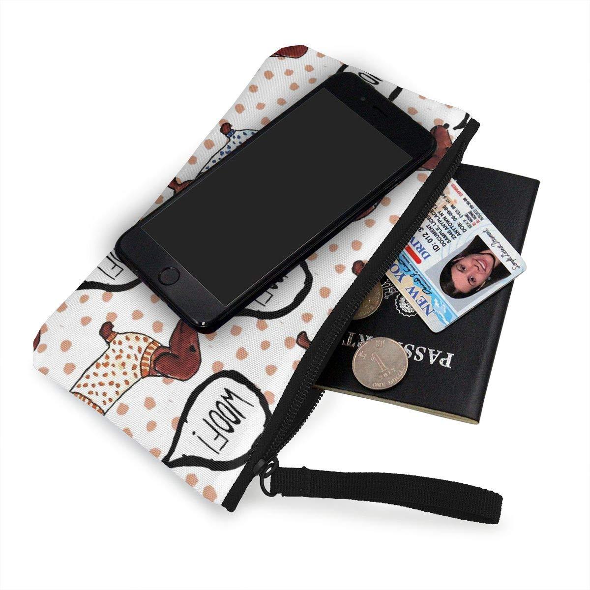 Coin Pouch Dachshund Fun Canvas Coin Purse Cellphone Card Bag With Handle And Zipper
