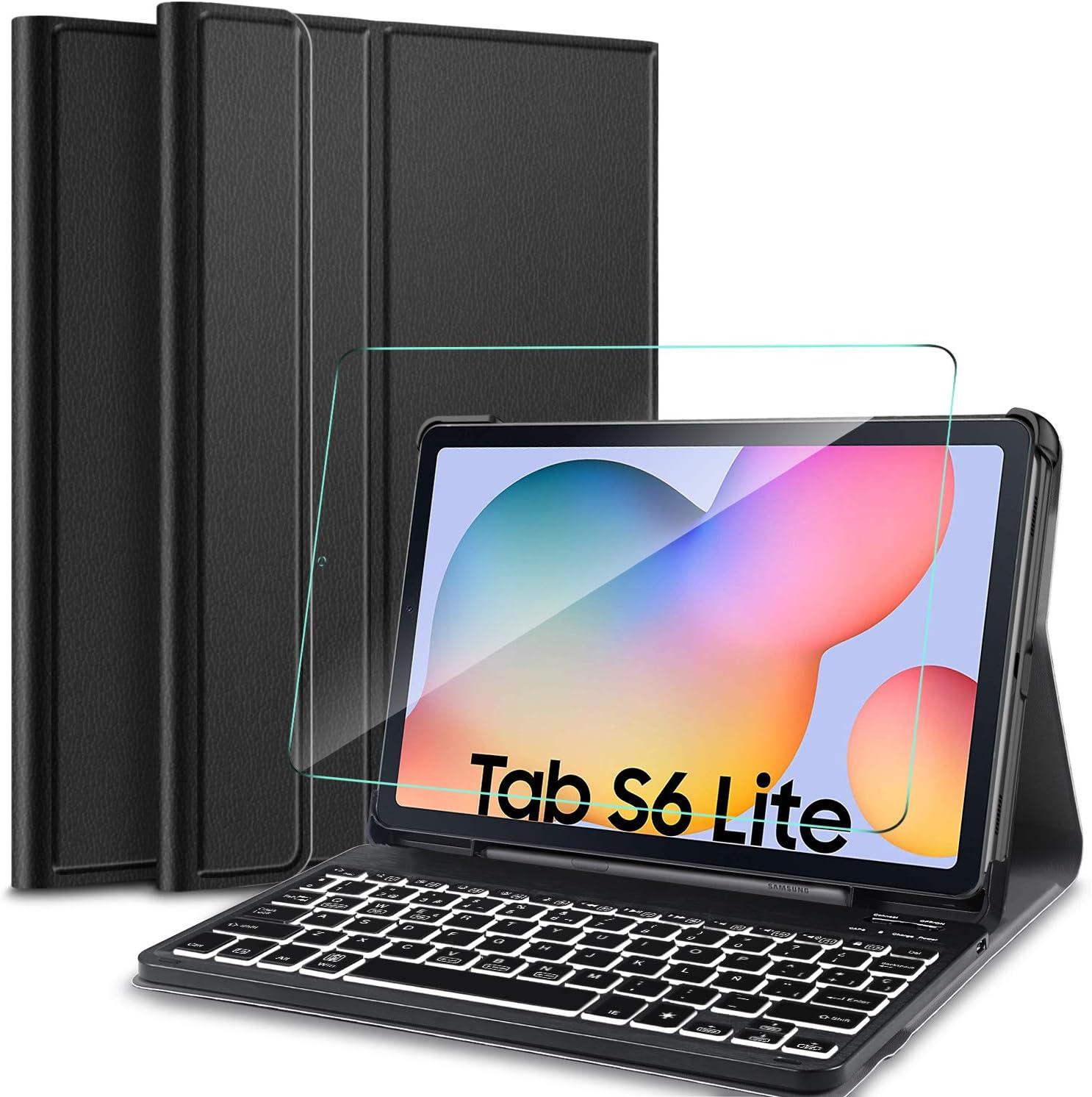 IVSO Español Teclado para Samsung Galaxy Tab S6 Lite, Protector de Pantalla para Samsung Galaxy Tab S6 Lite 10.4 2020, Funda con 7 Colores ...