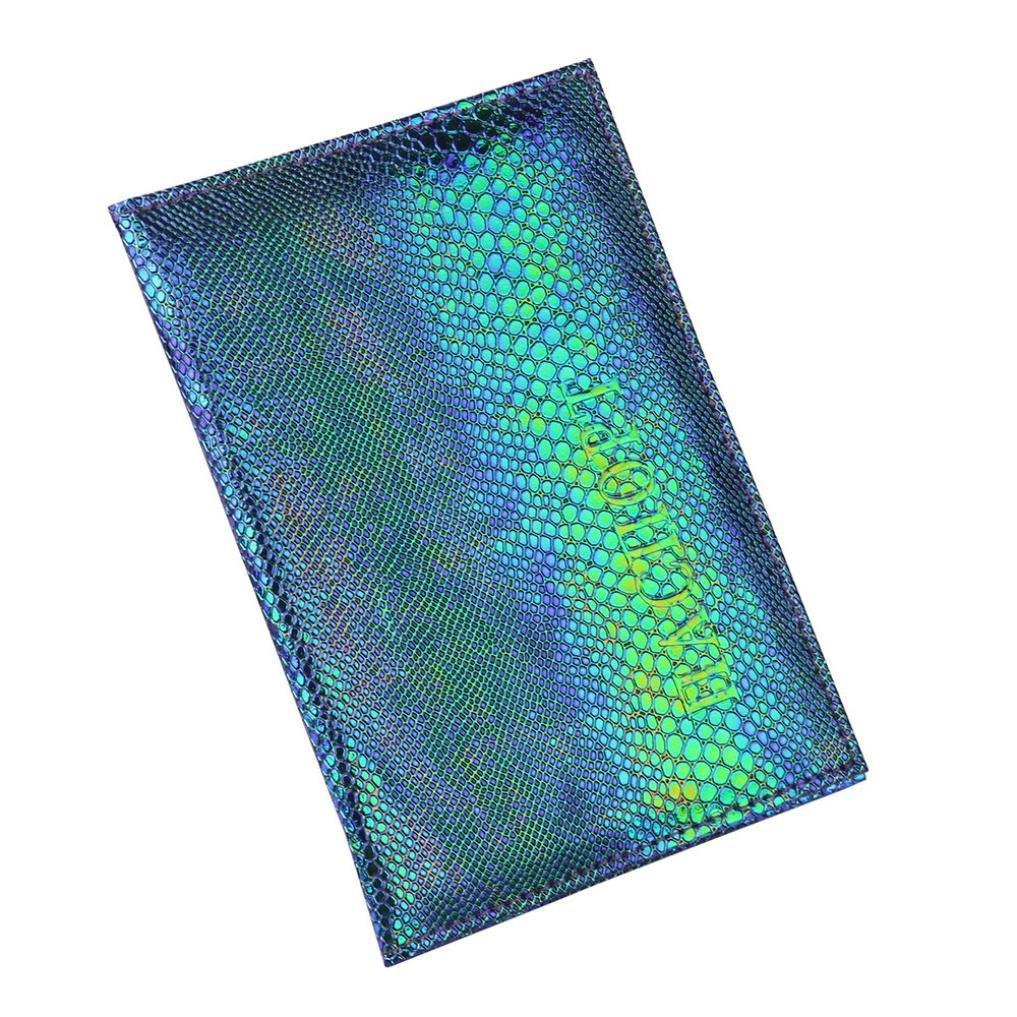 LLguz Lizard Pattern Passport Holder Protector Wallet Business Card Soft Passport Cover Certificate Card Bag Passport Protection Package (Blue)
