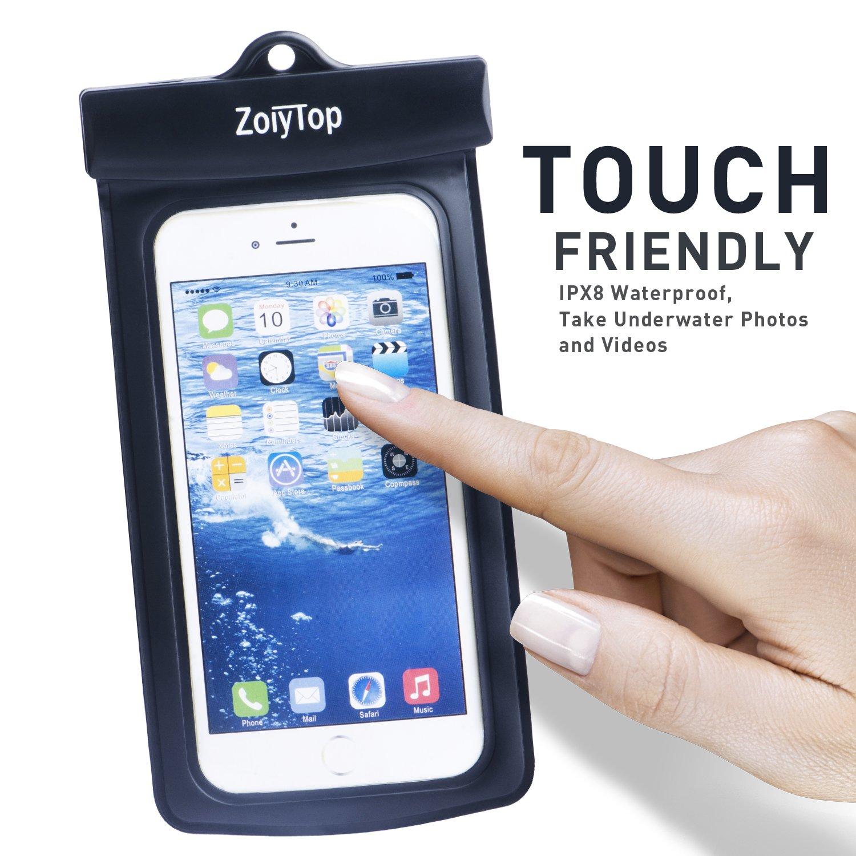 ZoiyTop Waterproof Phone Case Universal Dry Bag Waterproof Phone Bag Pouch for iphone 6 6S 5S Note 5 S7 (Black)