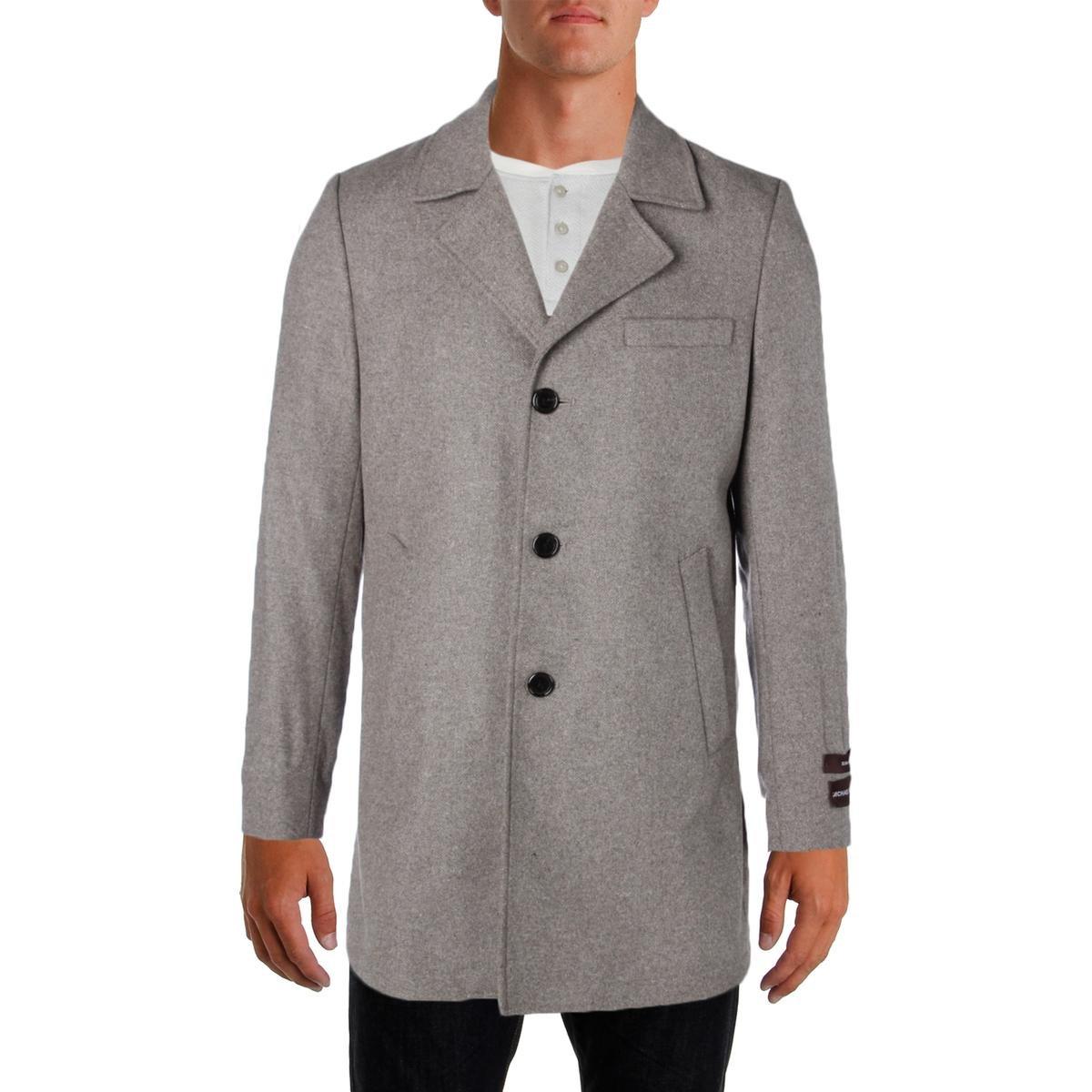 Michael Kors Mens Wool Signature Top Coat Taupe 46R