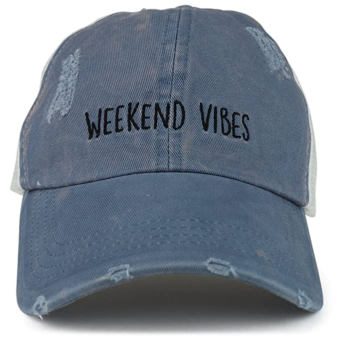 4d664932848303 Trendy Apparel Shop Weekend Vibes Embroidered Unstructured Washed Frayed  Trucker Mesh Cap - Blue at Amazon Women's Clothing store: