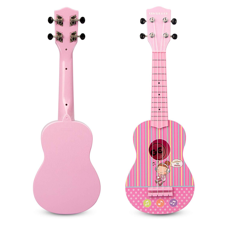 JINRUCHE Kids Ukulele Guitar, 21'' Music Hawaii Ukulele 4 Strings with Picks and Strap Learning Musical Instruments Educational Toys for Toddler Girls Boys Beginner Child Student (Pink)