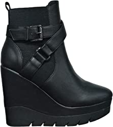 Wild Diva Fiona-01 Women Ankle High Wedge Platform Closed Toe Lug Sole Buckle Strap