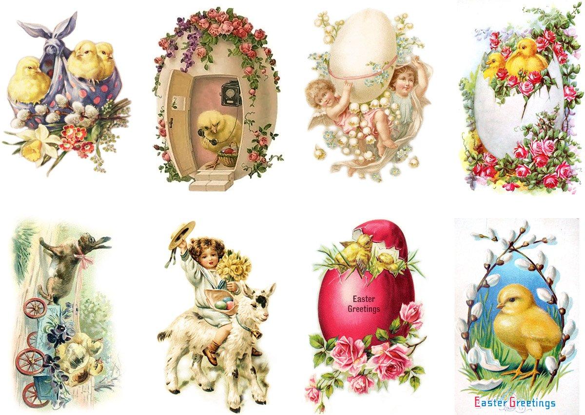 Amazon com large stickers each sticker 2 5x3 5 pack 8 pcs easter bunny flonz vintage