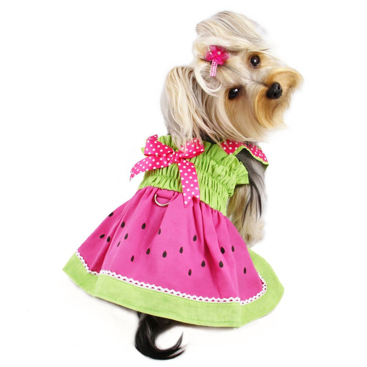 Juicy Watermelon Dog Sundress with Large D-ring for Easy Leash Attachment Sizes: X-Large