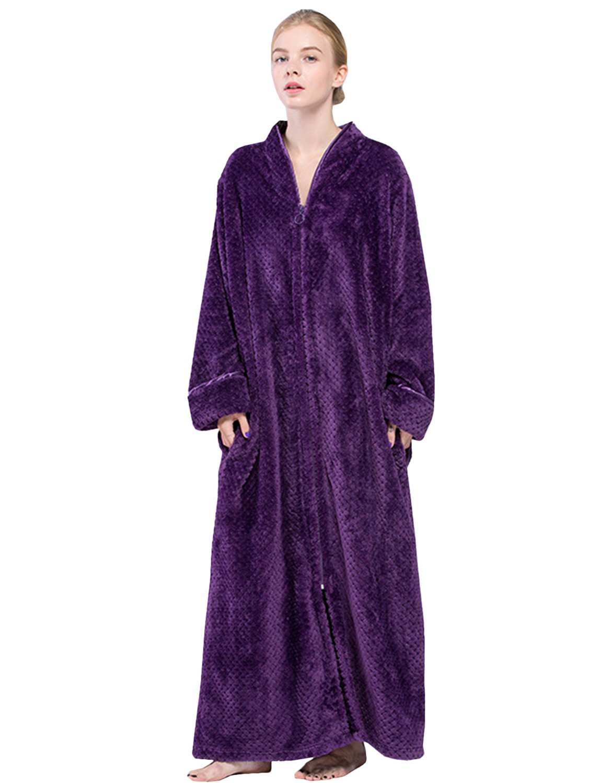 BELLOO Ladies Soft Fleece Dressing Gown Full Length Fluffy Bathrobe Zip Up