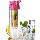icase4u 800mL Fruit Water Bottle Juice Infuser Infusing Sports Health Flip Lid Juice Make Bottle (pink)