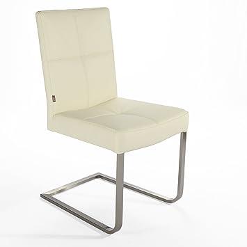 Stühle weiß leder  Freischwinger Lederstuhl Libero | Edelstahl Stuhl Leder-Stühle ...