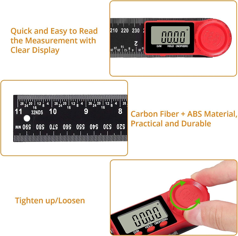 Neoteck Digital Angle Finder Lineal 12-Zoll 300 mm Winkelmesser Winkelmesser mit Datenhaltefunktion und Nullstellen Zur/ücksetzen LCD-Anzeige Elektronische Messwerkzeuge