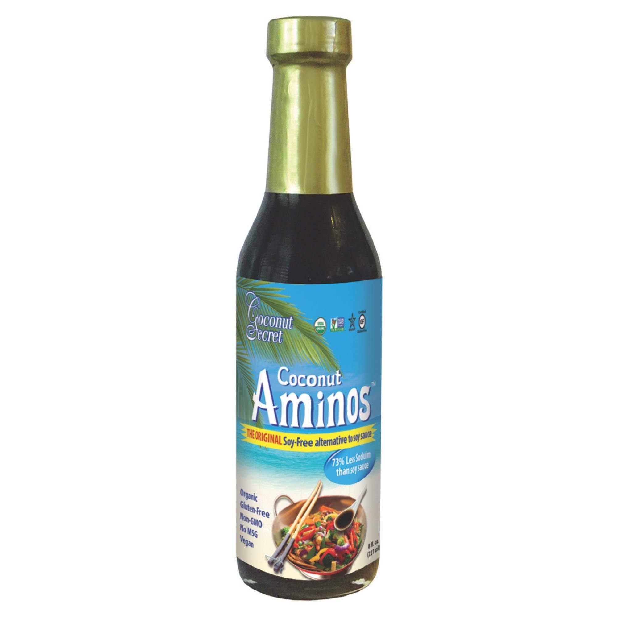 Coconut Secret Coconut Aminos (3 Pack) - 8 fl oz - Low Sodium Soy Sauce Alternative, Low-Glycemic - Organic, Vegan, Non-GMO, Gluten-Free, Kosher - Keto, Paleo - 144 Total Servings by COCONUT SECRET