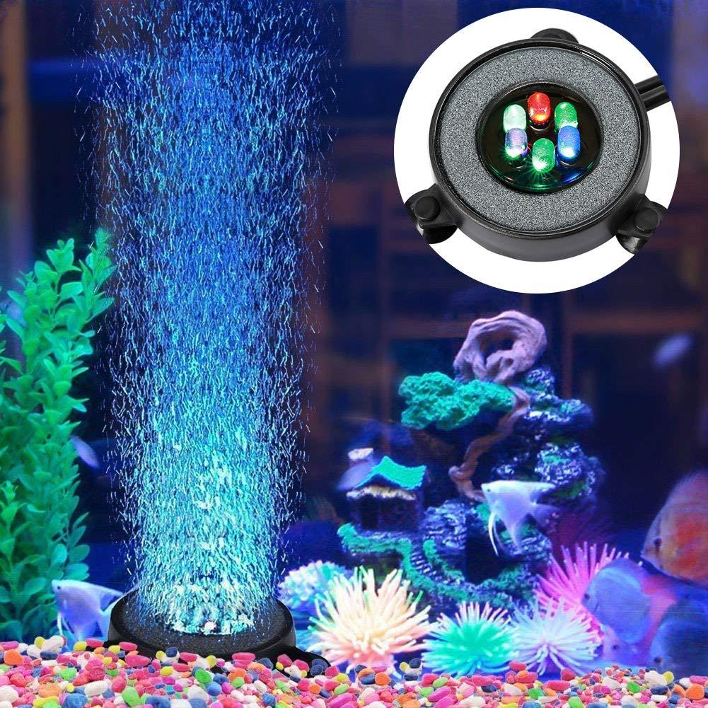 NICREW Acuario Aire Piedra, Luces Sumergibles para Peces, Luz del Acuario Cambio de Color Automático Decoración de LED Luces Sumergibles con Filtro para ...