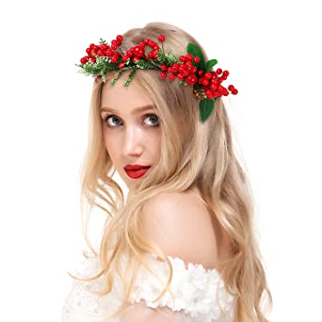 valdler halloween decoration costume vintage berries flower crown headband with adjustable ribbon for party red