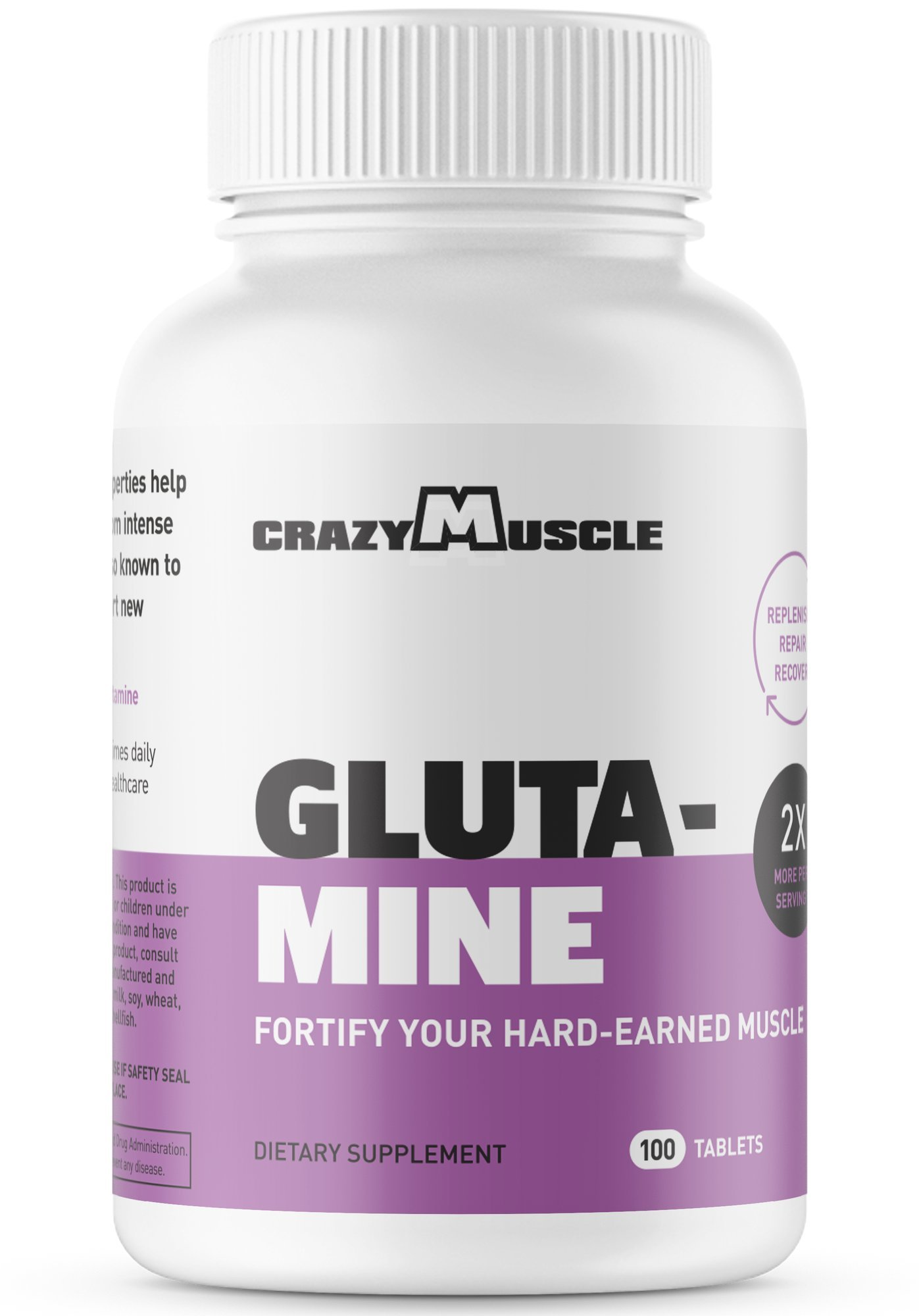 L Glutamine Capsules with 1000mg per Pill by Crazy Muscle help You Maintain Muscle and Accelerate Mass Gains - 100 Tablets per Bottle