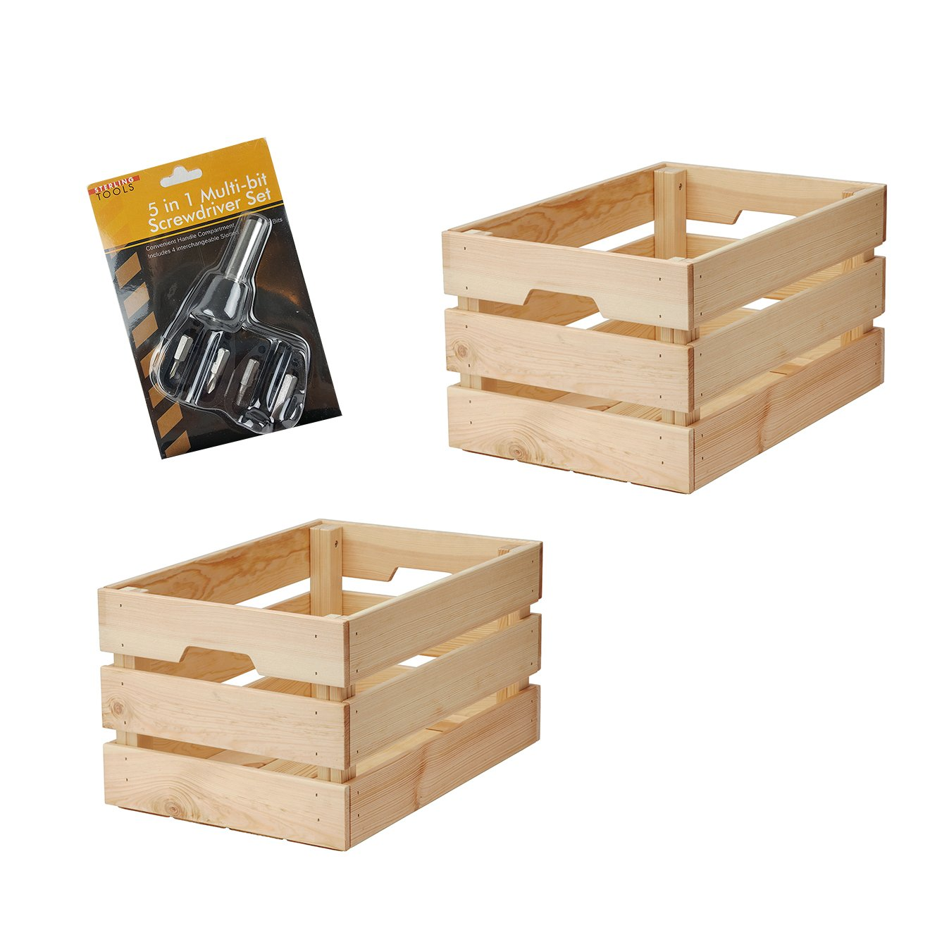 IKEA Knagglig Vintage Unfinished Wood Crate Basket Bundle | Box for Home or Office Storage And Organization with Handles [Large Box] (Set of 2 Boxes with 5 in 1 Screwdriver)