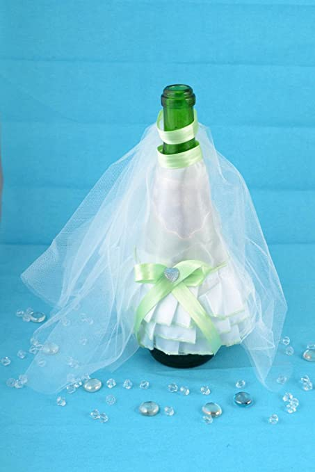 Decoracion para botella de cava traje de novia y velo artesanal original
