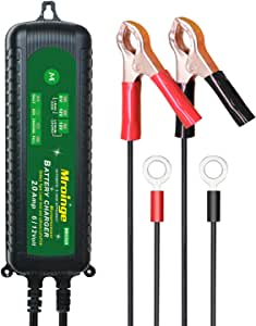 Mroinge MBC020 12V/6V 2A Fully Automatic Trickle Battery Charger Maintainer for Normal Lead Acid, Sealed, Leisure, AGM, Gel, Deep-cycle or 12V-Lithium(LiFePO4) Batteries, With IP65 Waterproof