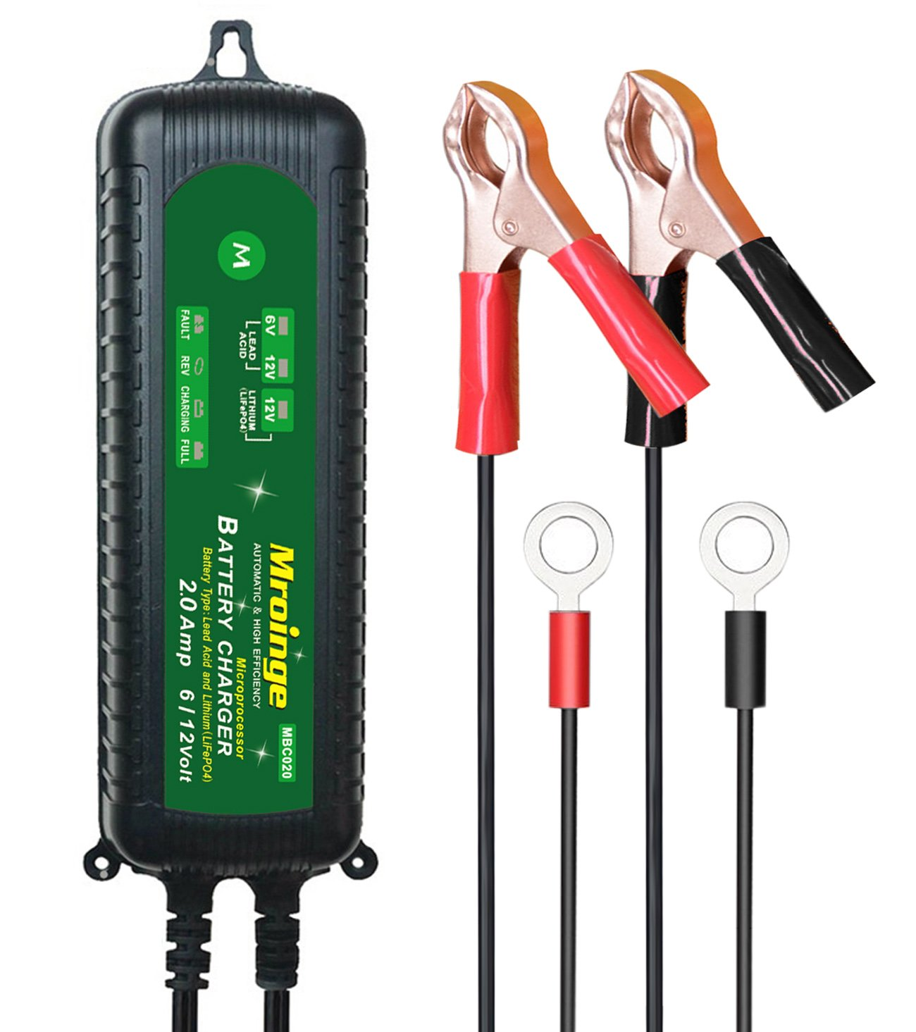 Mroinge MBC020 12V/6V 2A Fully Automatic Waterproof Battery Charger/Maintainer for Normal Lead Acid, Sealed, Leisure, AGM, Gel,Deep-cycle or 12V-Lithium(LiFePO4) Batteries
