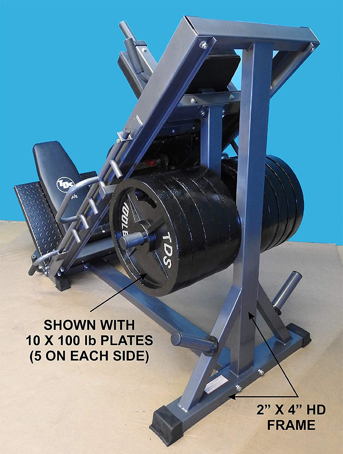Wide Adj Deck Plates HACK Squat 8 Wheels for Flawless Movement Forward Thrust Pads 4-Way Hip Sled to use as Leg Press Calf Raise to give a Full Lower Body Workout Unit has DLX