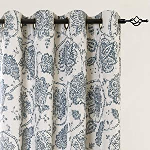 Blackout Curtains Paisley Scroll Printed Linen Textured Curtains Grommet Top Medallion Design Jacobean Floral Printed Curtains Burlap Vintage Living Room Window Drapes Teal 84 inch 2 Panels