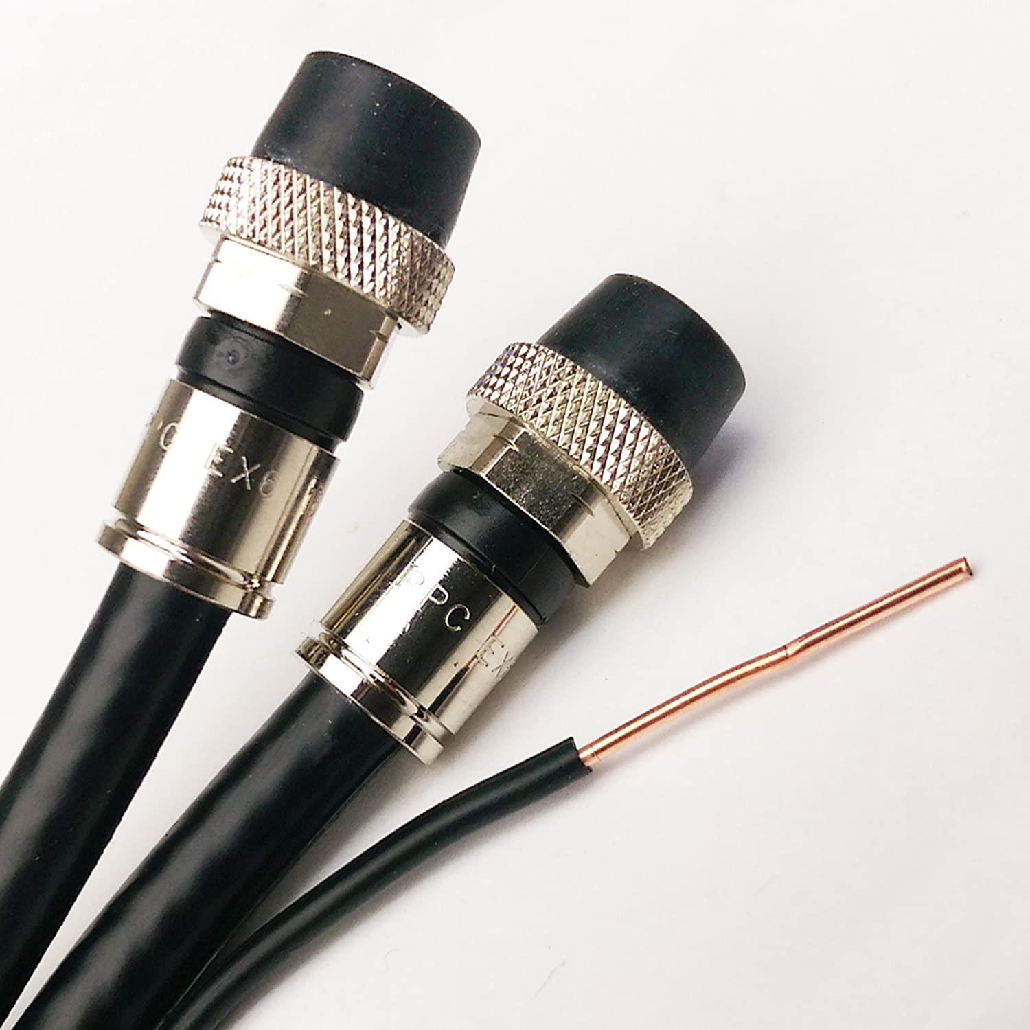 100ft Outdoor Dual RG-6 Coax Cable w//Ground Messenger 3Ghz 75 Ohm UL ETL cm Water Seal Compression Connectors w//Weather Boot Satellite TV /& Internet Cable Assembled in USA by PHAT SATELLITE INTL