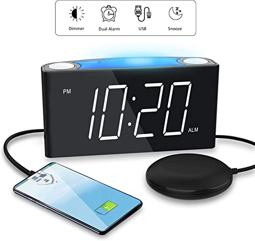 Loud Alarm Clock with Bed Shaker for Heavy Sleeper,Vibrating Alarm Clock for Bedroom for Deaf Hard of Hearing,USB Charger,Vibration,Dual Digital Clock,Large Number Display,7 Night Light,Battery Backup