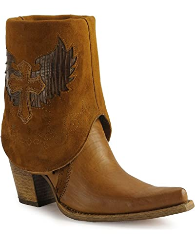 Women's Cross Lizard Cuffed Pointed Toe Cowgirl Boots C2213