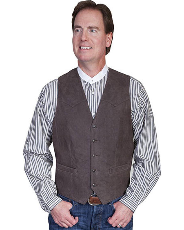 Scully Men's Lambskin Leather Western Vest Brown 42 R