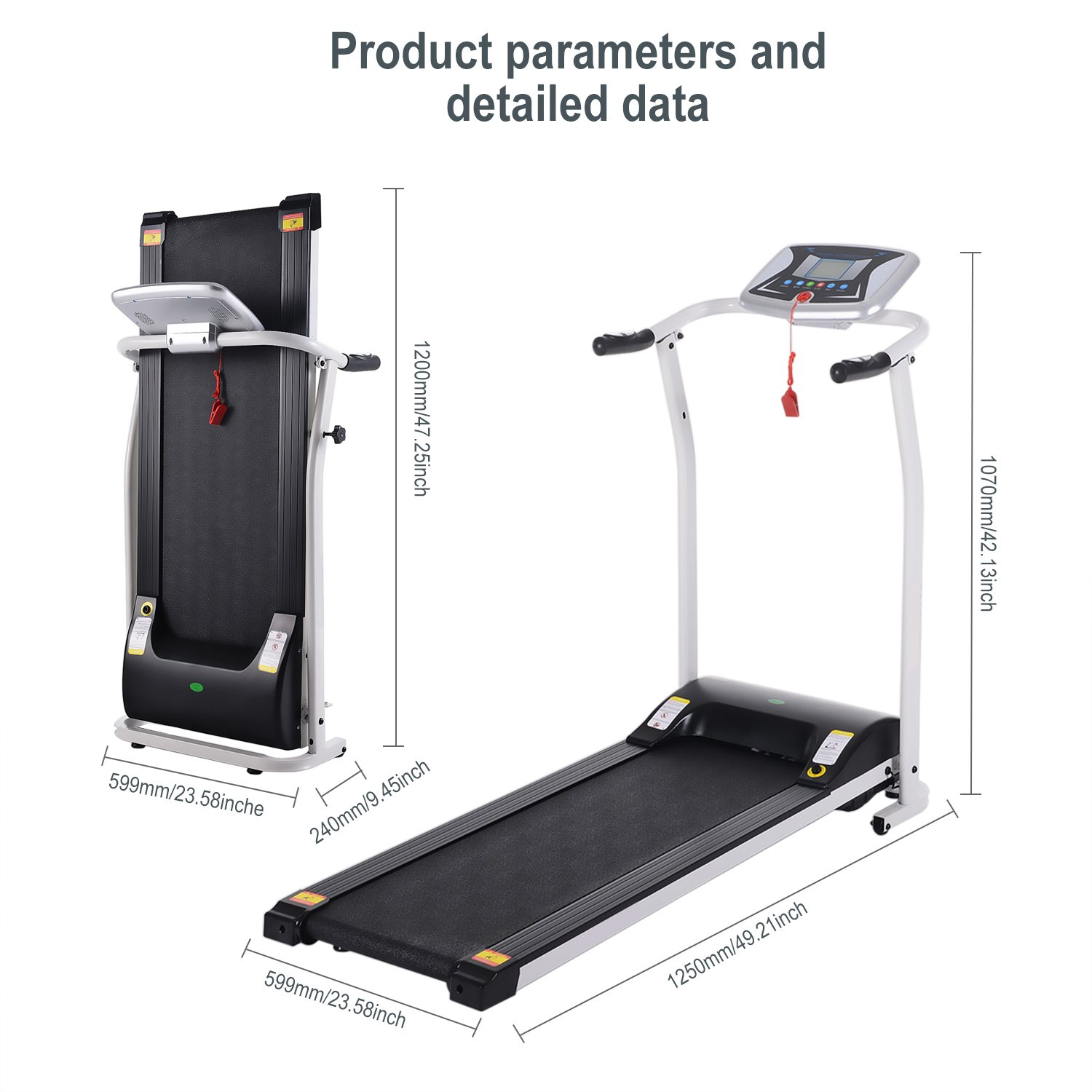Miageek Folding Electric Support Motorized Power Fitness Jogging Walking Running Machine Equipment Treadmills for Home Indoor Gym US Stock