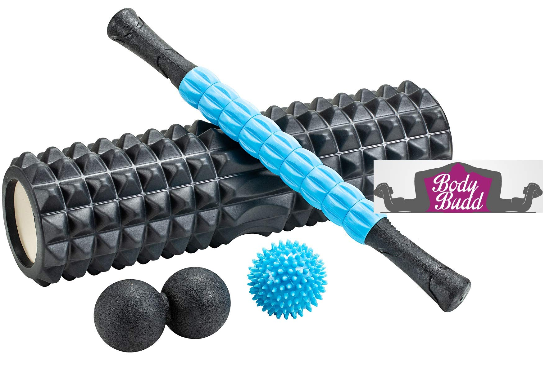 BodyBudd Foam Roller Set with Muscle Massage Stick, Large Peanut Ball & Rubber Lacrosse Ball in Carrying Bag, High Density Rolling Massager, Complete Kit for Myofascial Release Massage & Pain Relief
