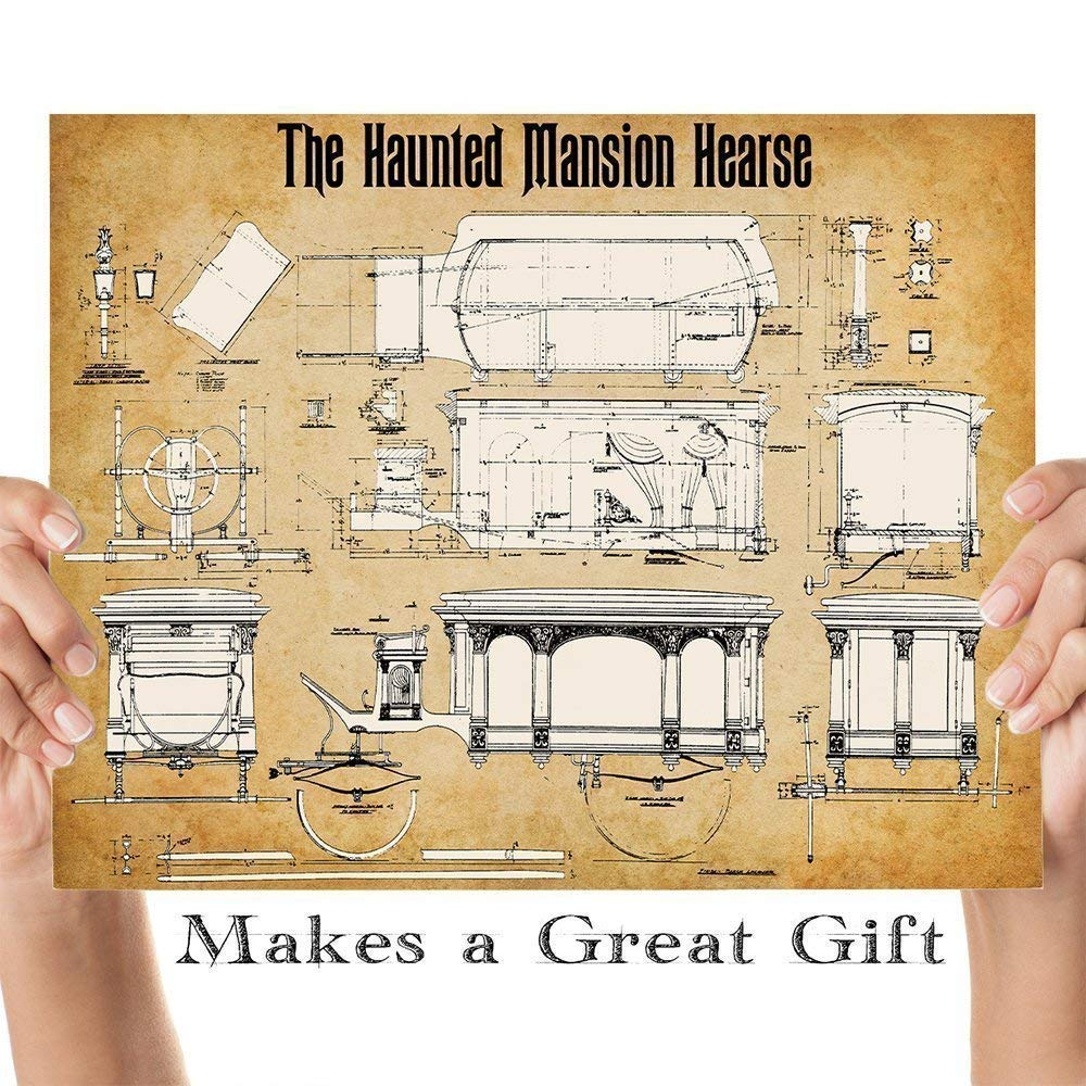 Disney Haunted Mansion Hearse - 11x14 Unframed Patent Print - Great Gift  Under $15 for Disney Fans