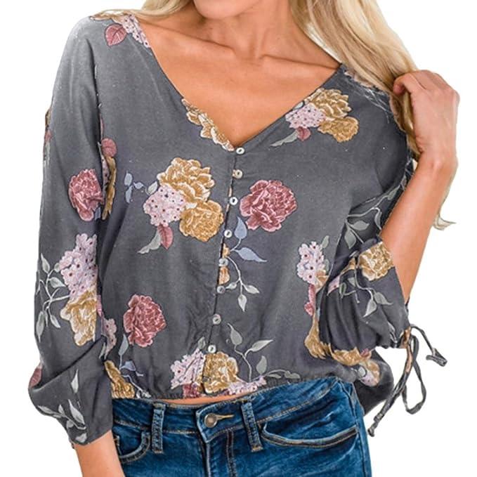 Botón Impreso Camisa Mujer, Covermason Blusa con Botones Florales Estampados con Cordones en Mujer(
