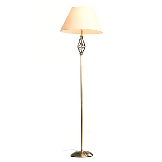 Kingswood barley twist traditional floor lamp antique brass with kingswood barley twist traditional floor lamp antique brass with cream shade aloadofball Images