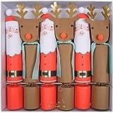 Christmas Large Crackers, meri meri 6 Crackers. Santa and Rudolf