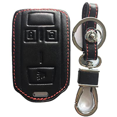 RPKEY Leather Keyless Entry Remote Control Key Fob Cover Case Protector Replacement Fit for Chevrolet Silverado 1500 Colorado Tahoe Suburban Gmc Yukon Sierra 1500 Canyon M3N-32337100 13577771: Automotive