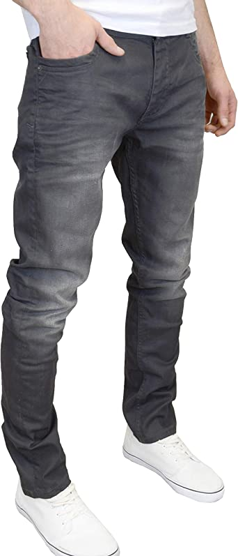 DML Jeans Men's Slim Fit Grey Coated Denim Jeans at Amazon