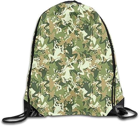 Drawstring Backpack Frog Pattern Rucksack