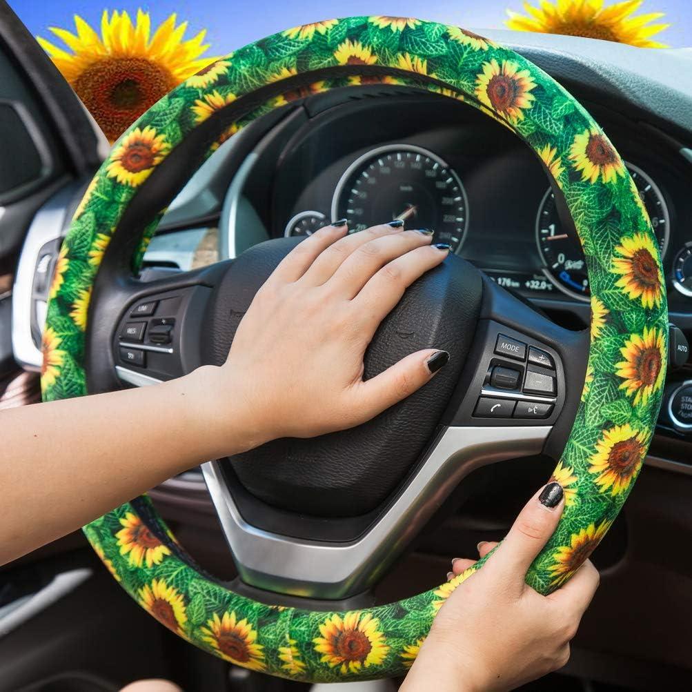 xcbyt Sunflower Car Steering Wheel Cover Cute Yellow Sunflower Universal Steering Wheel Cover for Women Girls Car Accessories