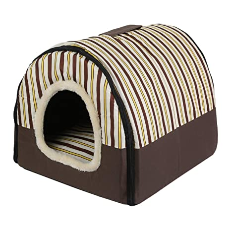 Delicacydex Cama Plegable portátil para Perros Dog Puppy Cat House Kennel Nest Cama Suave con Esterilla
