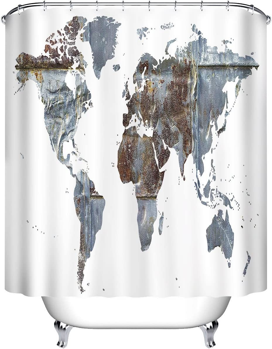 LB Abstract World Map White Background Shower Curtain Set for Bathroom, Global Map Decor Curtain, 59 W x 70 L Polyester Fabric Shower Curtain Waterproof